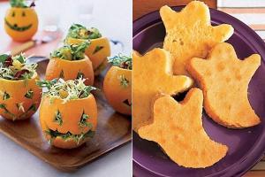 Ensalada y panecillos para Halloween